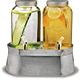 Circleware 92022 Double Mini Mason Jar Glass Beverage Dispensers with Stand Bucket, Fun Party Home Entertainment Glassware for Water, Juice, Beer, Punch, Iced Tea Drinks, 120 oz each each, Lancaster