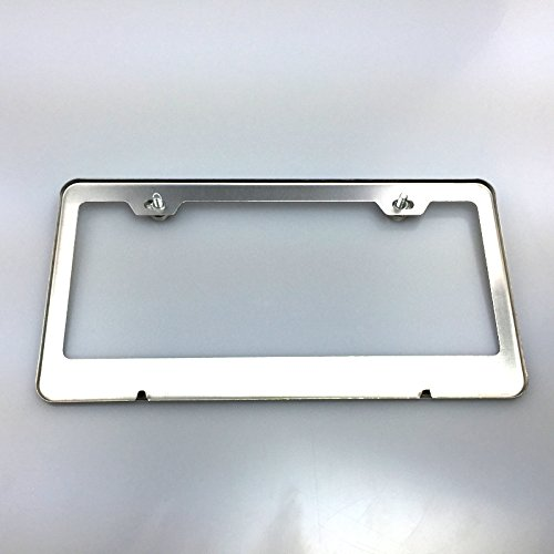 amazoncom 100 stainless steel tesla laser engrave chrome mirror polish license plate frame holder with logo steel screw caps automotive