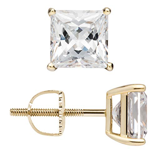 (14K Solid Yellow Gold Stud Earrings | Princess Cut Cubic Zirconia | Screw Back Posts | 3.0 CTW | With Gift Box)