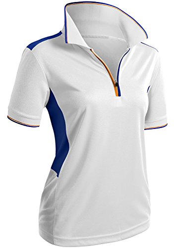 CLOVERY Wicking Material Clothing Functional Fabric Short Sleeve Zipup POLO Shirt WHITE US L/Tag L