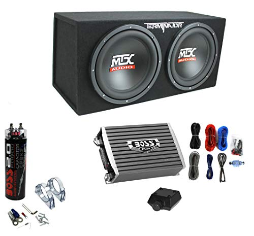"""MTX TNE212D 12"""" 1200W Dual Loaded Subwoofer Box + 1500W Amplifier + Capacitor"""