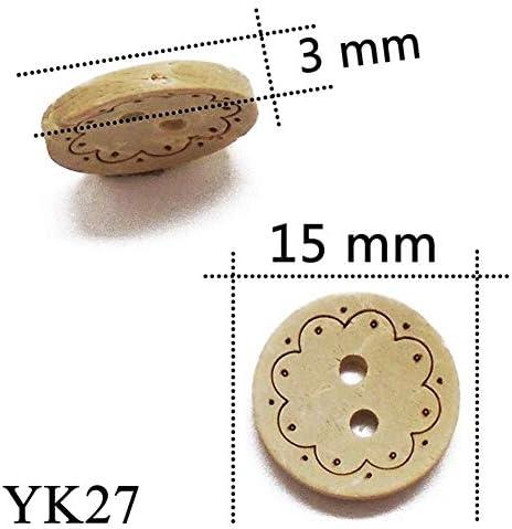 Yitang 50分の30 / 100PCS 2holeナチュラルカラーラウンドレーザーココナッツの殻のボタン13ミリメートル15ミリメートル工芸裁縫スクラップブッキングのための服手作り、工芸はDIYのプロジェクトを作ります (Color : YK27, Size : 100 pcs)