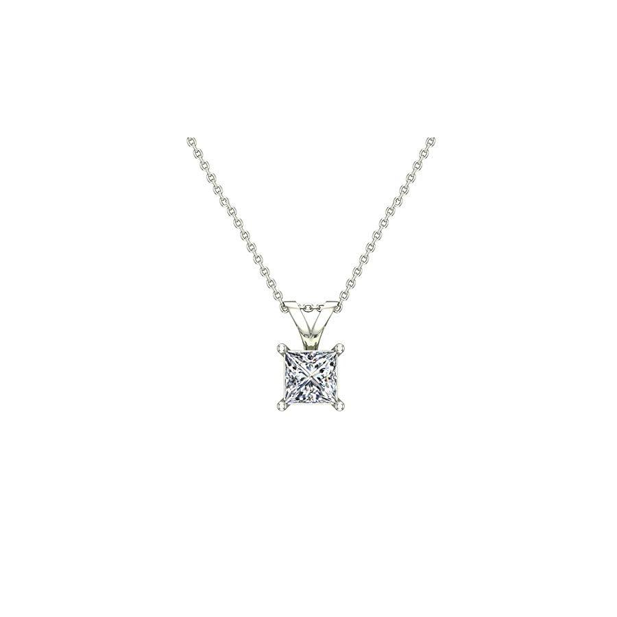 Princess Cut Solitaire Diamond Necklace 14K Gold (G,I1) Premium Quality
