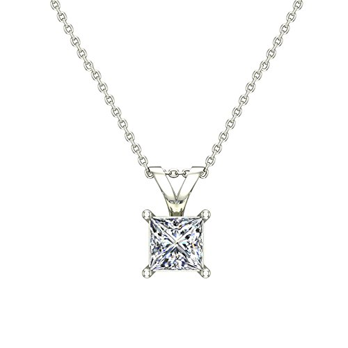 Princess Cut Diamond 4 Prong (1/3 ct tw I1 G Natural Princess Cut Diamond Solitaire Pendant Necklace 14K White Gold)