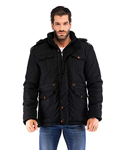 Yozai Mens Winter Jacket Coat with Multi Pockets and Detachable Fur Hood Black Medium