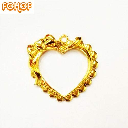 (Dalab 5pcs Sweet Heart Pendant Bezel Setting UV Resin Craft Metal Hollow Frame Key Charms Princess Bowknot Jewelry DIY Accessories - (Color: Gold))