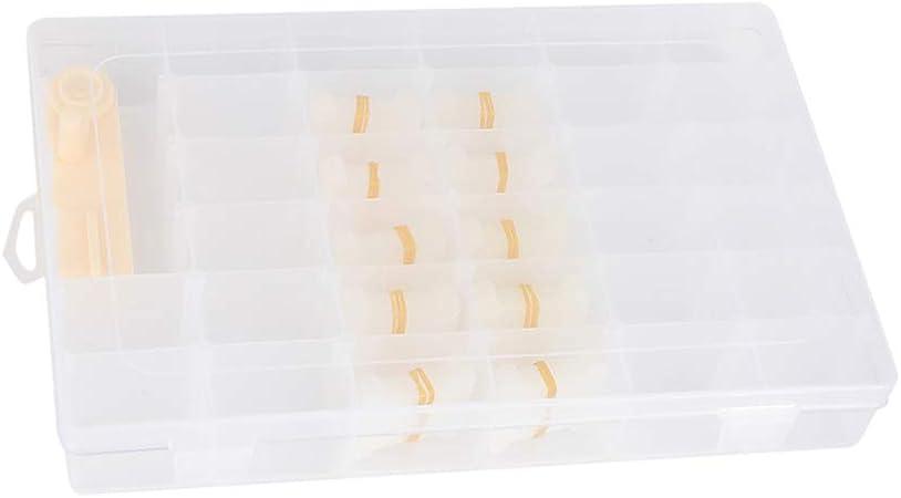 EXCEART 102Pcs Caja de Organizador de Hilo de Bordar Caja de Organizador de Punto de Cruz de Plástico con 100 Piezas Y Enrollador de Hilo de 1 Pieza para Coser Bricolaje: Amazon.es: