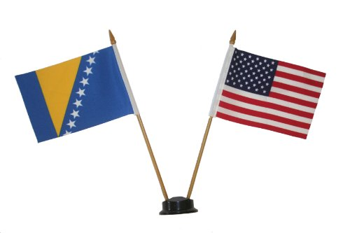 USA & BOSNIA AND HERZEGOVINA Small 4 X 6 Inch Mini Double Country Stick Flag Banner with BLACK STAND on a 10 Inch Plastic Pole .. New ()