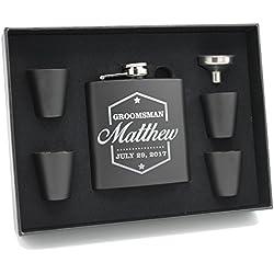 Engraved Personalized Groomsmen Flasks Gift Box Set - Wedding Favors - Custom Monogram Groomsman - Badge Style - Black