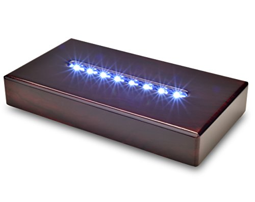 Santa Cruz Lights Large Rosewood 8 LED White Light Stand Base for Crystals, Glass - AC Powered