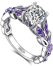 Jeulia 4.3 Carat Butterfly Ring 925 Sterling Silvers Four-Color Birthstone Bridal Rings Set for Women Wedding Engagement Promise With Jewelry Box
