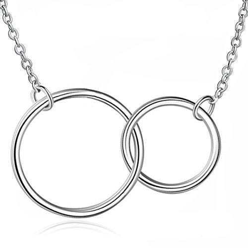 S925 Sterling Silver Mother Daughter Two-Circle Interlocking Pendant Necklace Eternal Love Gift ()