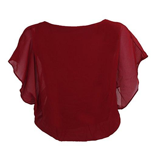 SODIAL (R)Femmes Couleurs de bonbons Chemisier de carriere en mousseline de soie Chemisier cintree a manches bouffantes Chemisier rouge vineux XL