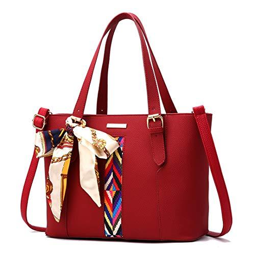 sac PU sac messager bandoulière fourre en Wine grand femmes à sacs cuir main Red femme tout main sac Sentsreny Mode à sacs dames à 5XwqAHf