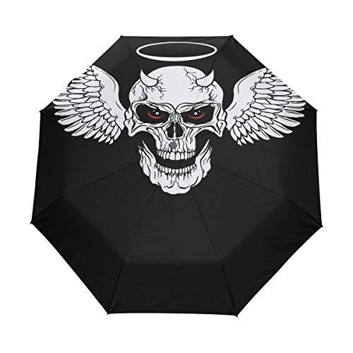Racer Horned Skull With Wings Folding Compact Travel Umbrella Auto Open Waterproof Windproof Sun Rain Umbrella for Women Men