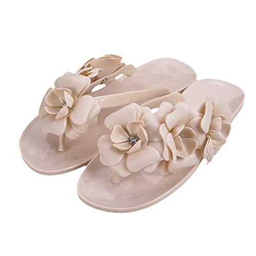Maybest Women SummerThree-Dimensional Camellias Flowers Flip Flop Jelly Sandals Flat Slippers ( Beige 9 B (M) US )
