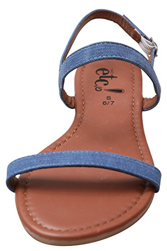 Summer Denim And Comfortable Shoes Blue For Durable Flat Double Strap Women Ladies Sandals 1qnZY7