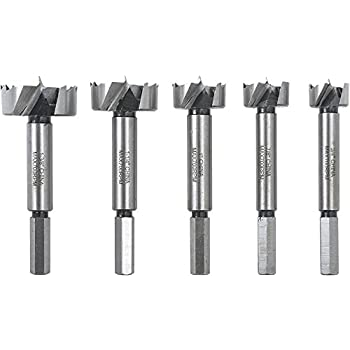 "Woodstock D4557 5 Piece Forstner Bit Set, 3/4""-1-3/8"""