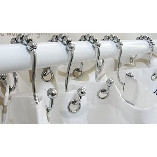 cheap Interfeeling Shower Curtain Rings with Bathroom Double Glide ...