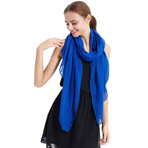LMVERNA Head Scarf for Women Cotton Muslim Hijab Linen Scarf Solid Color Large Sheer Shawl Wraps for Evening (Royal Blue)