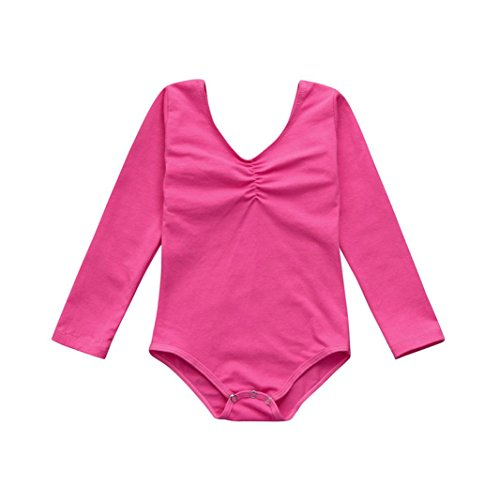 Skirt Skating Patterns (Fineser(TM Little Girls Long Sleeve Ballet Bodysuit Kids Leotards Dancewear Clothes Outfits 2-7Years (Hot Pink, 4T))