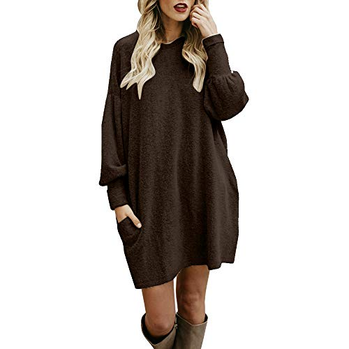 - Sherostore ♡ Sweater for Women, Solid Long Sleeve Casual Tunic Dress Crew Neck Loose Pullover Blouse with Pocket Coffee
