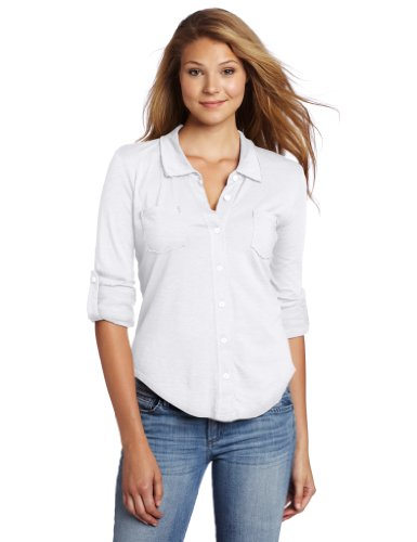 Michael stars women 39 s luxe slub raw edge fitted button for Where to buy womens button up shirts