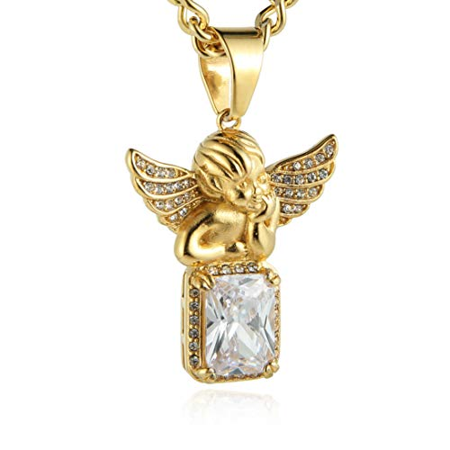 HZMAN Mens Gold Angel & Praying Hands Bundle Set Cz Pendant Hip Hop 22