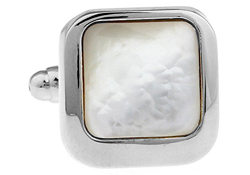 Men's Executive Cufflinks Silver Framed Mother of Pearl Square Formal Cuff Links ()