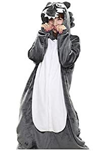 Adrinfly One-piece Pajamas Unisex Costume Adult Animal Onesie Wolf Cosplay