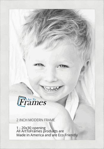ArtToFrames 20x30 inch Modern White Frame Picture Frame, WOMFRBW74074-20x30