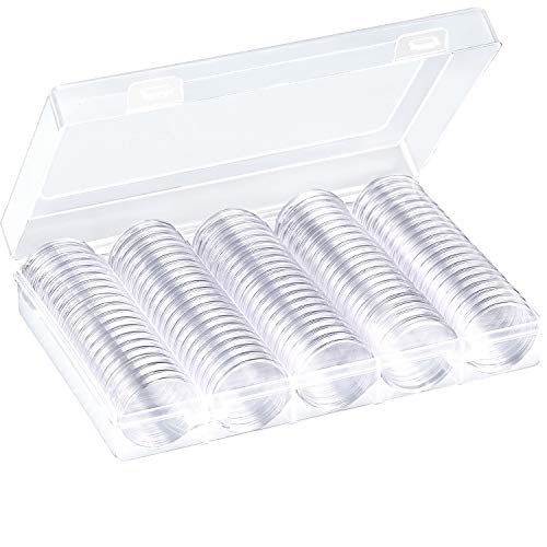 - Hicarer 100 Pieces Coin Capsules Round Plastic Coin Holder Case with Storage Organizer Box for Coin Collection Supplies (27 mm)