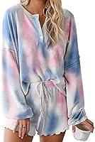 BTFBM Women Pajamas Tie Dye Print Long Sleeve Shirt Elastic Drawstring Shorts Pant PJ Set Sleepwear Loungewear Nightgown