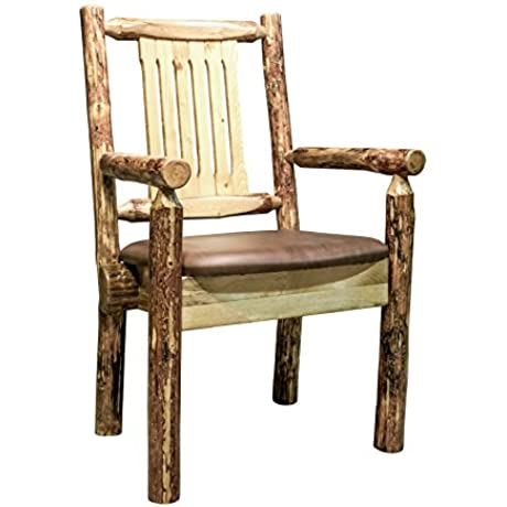 Montana Woodworks Glacier Country Collection Captain S Chair With Upholstered Seat Saddle Pattern