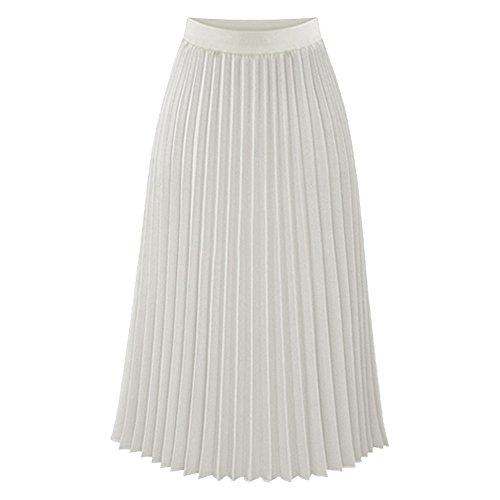TEERFU Womens Ladies Summer Boho Flared Pleated Skirt A-Line Midi Skirts
