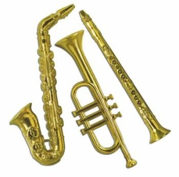 Gold Plastic Musical Instrument Decorations