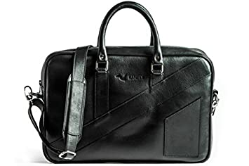 KANZEK Luxury Leather Laptop Briefcase for 15.6 quot  Laptops - Beautiful  Black Patina - Modern Luxury d435cb905f3fb