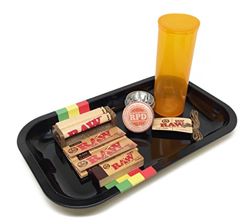 Bundle - 8 Items - Rolling Paper Depot Rolling Tray(Rasta Racer), Rolling Paper Depot 42mm Grinder, Raw 1 1/4 Papers, 79mm Roller, Tips, Hemp Wick and Storage Container
