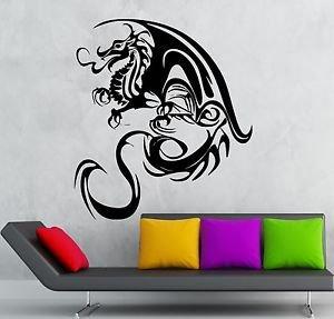 (Wall Vinyl Sticker Decals Mural Design Beautiful Tribal Dragon Tattoo Face #700)