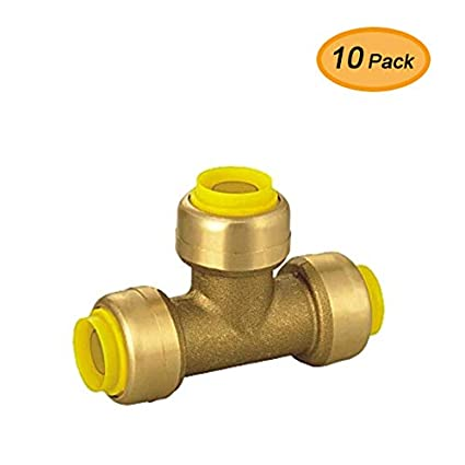 5 Pack Lead Free Push-Fit Connector for Plumbing Fitting Compatible with PEX AB Brass Push-to-Connect Tees 3//4 in CPVC and Copper Tube x 3//4 in x 3//4 in