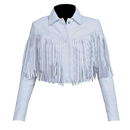 Ferris Bueller's Day Off Sloane Peterson White Fringe Real Leather Jacket ►Best Leather◄ (M, White)