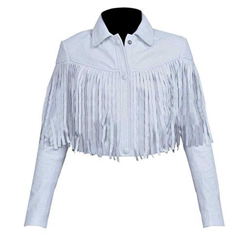 SlimLeatherJackets Ferris Bueller's Day Off Sloane Peterson White Fringe Real Leather Jacket ►Best Leather◄ (S, White) (Peterson Jacket)