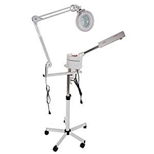 Mefeir 2 in 1 Professional Facial Steamer with 5X LED Magnifying Lamp - Adjustable Arm,Rolling Floor Stand,Hot Mist,Timer,Face Cleaning Moisturizing Skin Care Humidifier,Salon Spa Beauty Equipment