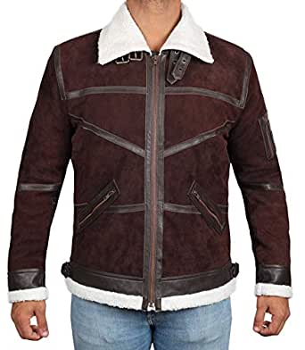 BlingSoul Iowa Mens Leather Jacket Brown - Sherpa Jacket | Brown, XS