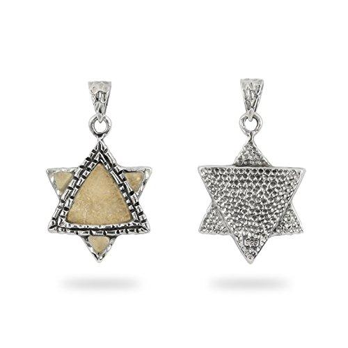 NP11628 Judaica Necklace Star of David Silver 925 Pendant Art on Jerusalem Stone Plate Israeli Jewish Jewelry ()