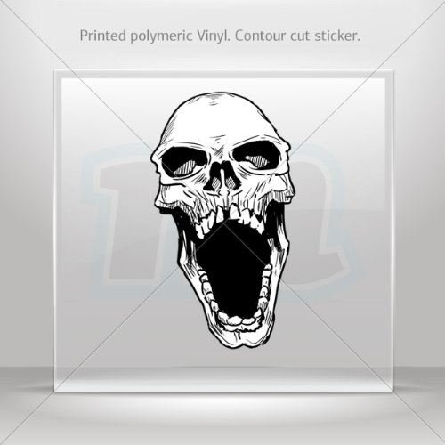 Sticker Skull Scream Car door Hobbies Waterproof Racing Durable Racing (7 X 3.94 Inches) -