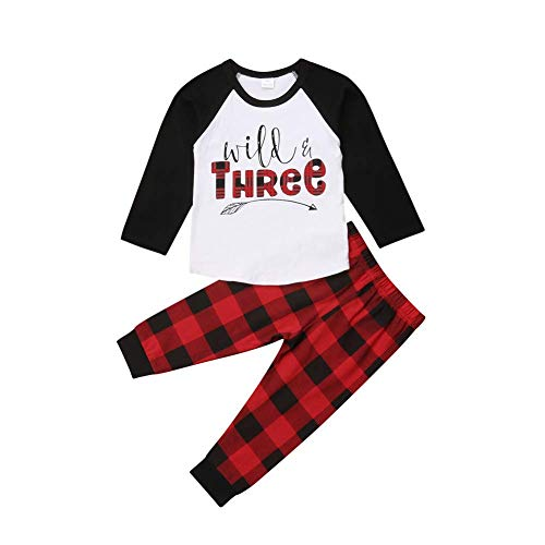 Baby Boys Girls Clothes, 2Pcs Infant Toddler Wild One Arrow Long Sleeves Top T Shirt Red Plaid Pants Outfits Clothing (3-4 Years, Wild Three) ()