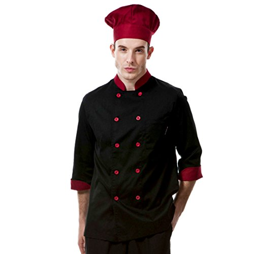 Chef Coat Jacket Uniform (Chef coat black with red uniforms and red long sleeve chef jacket unisex (XL))