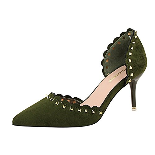 MAKEGSI Sexy Women Hollow Slip On Rivet High Heels Ankle Strap Shoes Dress Pumps Green o62hdIzn