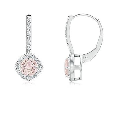 Angara Claw-Set Morganite and Diamond Leverback Halo Earrings LlxVLk